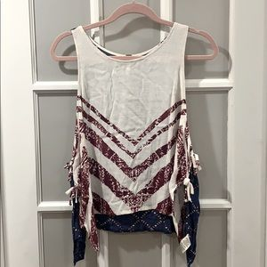 Free people red, white and blue tie side tank top